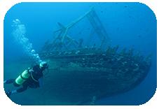 Buzo ante barco hundido